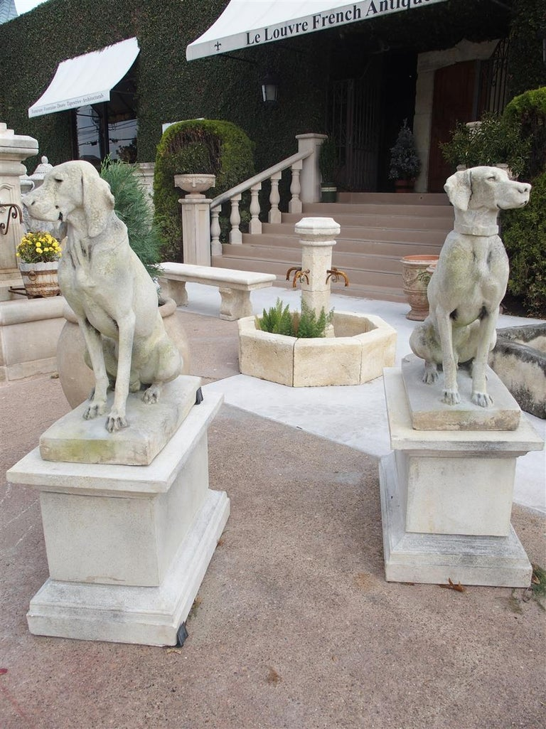 Pair of Cast Stone European Pointers on Pedestals after Jacquemart Originals For Sale 5