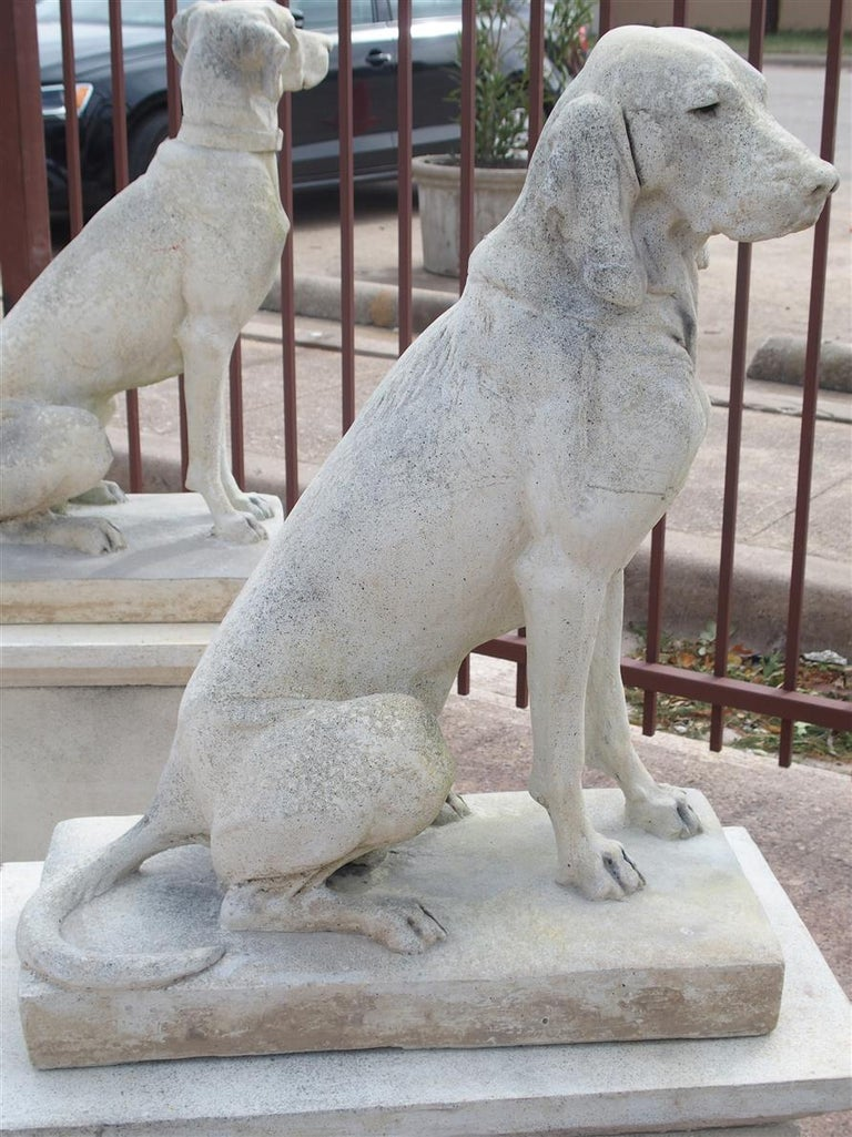 Pair of Cast Stone European Pointers on Pedestals after Jacquemart Originals For Sale 9