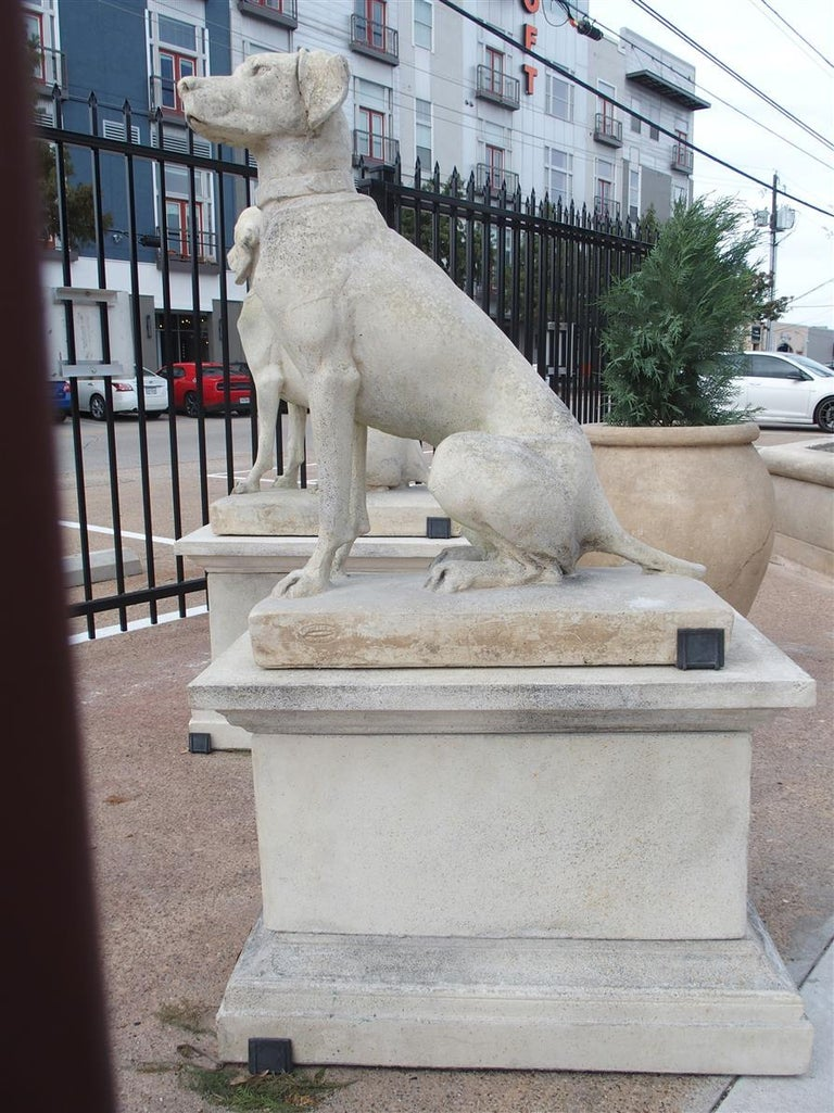 Pair of Cast Stone European Pointers on Pedestals after Jacquemart Originals For Sale 1