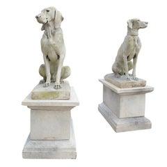 Pair of Cast Stone European Pointers on Pedestals after Jacquemart Originals