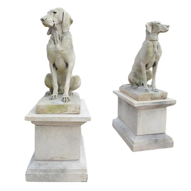 Pair of Cast Stone European Pointers on Pedestals after Jacquemart Originals For Sale