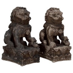 Pair of Cast Stone Foo Dogs, Firedogs