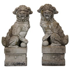 Pair of Cast Stone Foo Dogs Garden Statues, 1960s