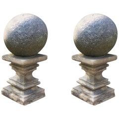 Pair of Cast Stone Garden Balls Atop Stone Pedestals