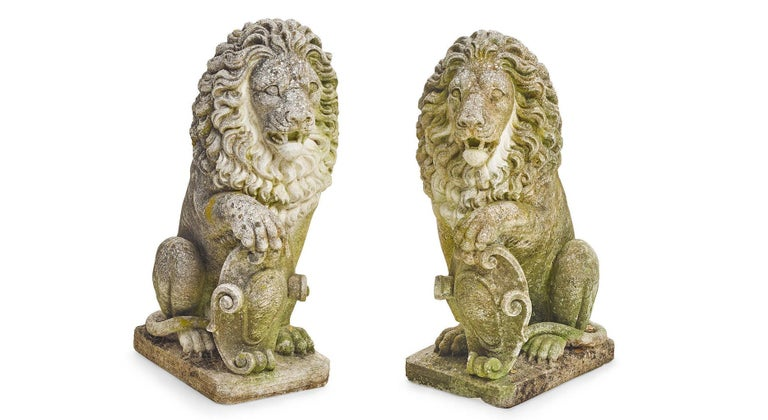 Pair of Cast Stone Garden Lions In Good Condition In Cypress, CA