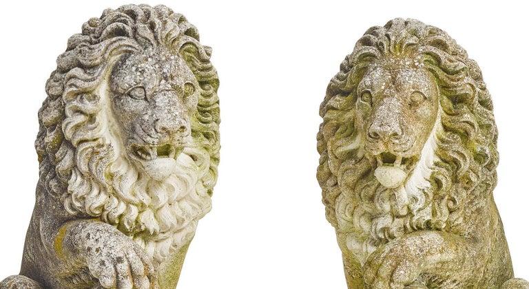 20th Century Pair of Cast Stone Garden Lions