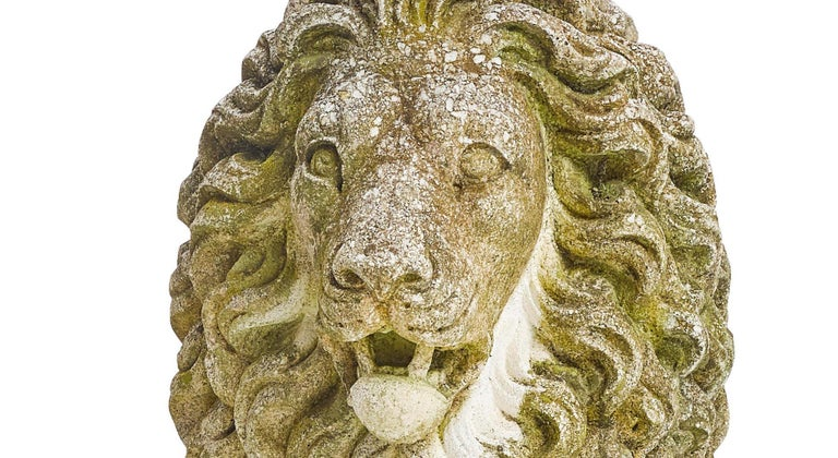 Pair of Cast Stone Garden Lions 1
