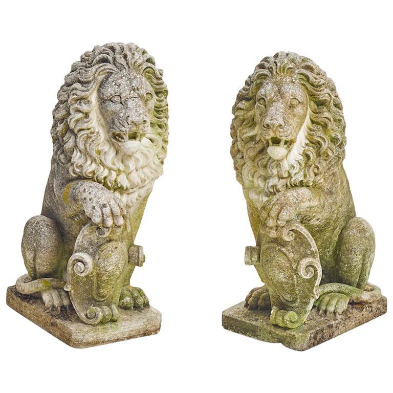 Pair of Cast Stone Garden Lions