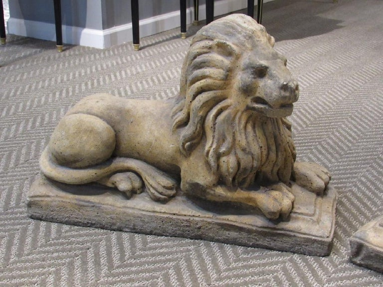 Mid-20th Century Pair of Cast Stone Garden Lions, Recumbent Lions on Plinth Bases For Sale