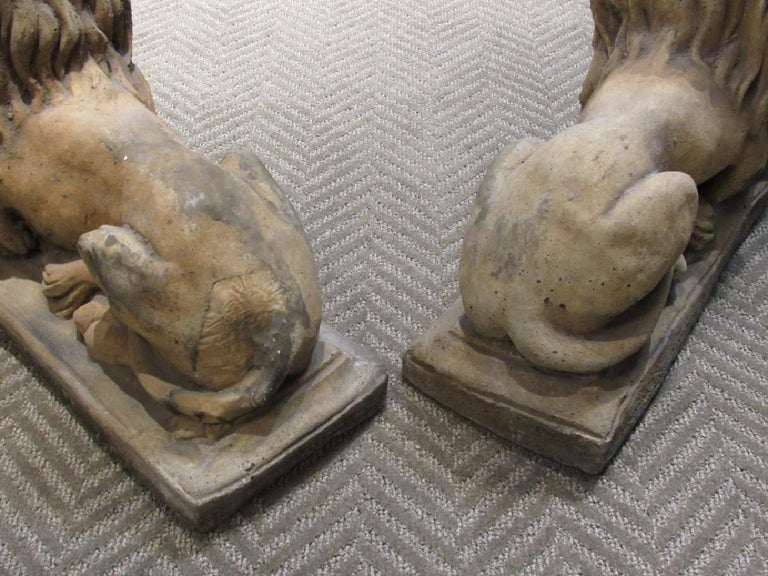 Pair of Cast Stone Garden Lions, Recumbent Lions on Plinth Bases For Sale 1