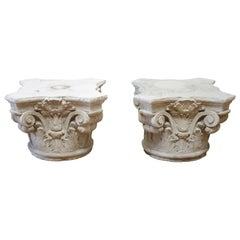 Pair of Cast Stone Garden Pedestals or Outdoor Tables