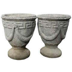 Pair of Cast Stone Greek Key and Swag Relief Urns