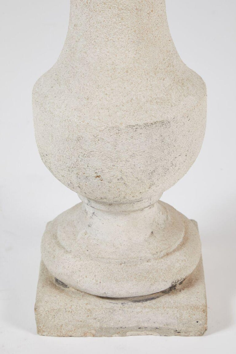 Pair of Cast Stone Lamps For Sale 2