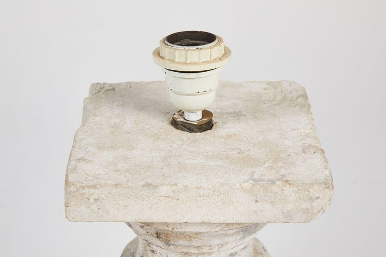 Pair of Cast Stone Lamps For Sale 4