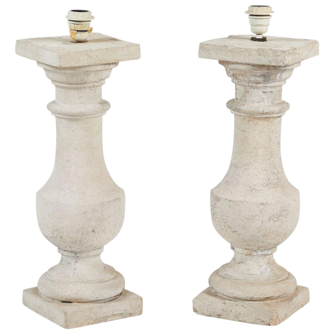 Pair of Cast Stone Lamps
