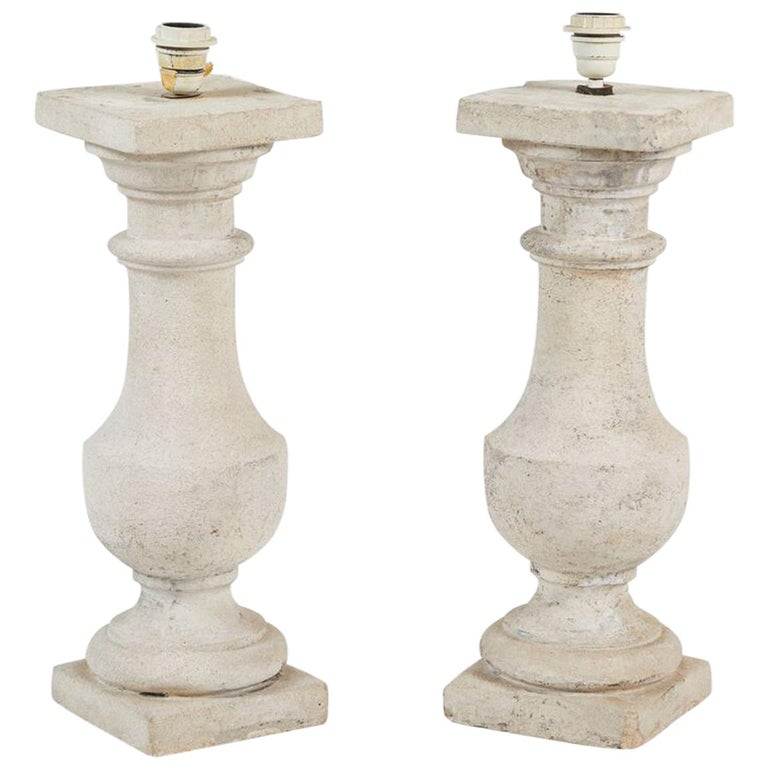 Pair of Cast Stone Lamps For Sale