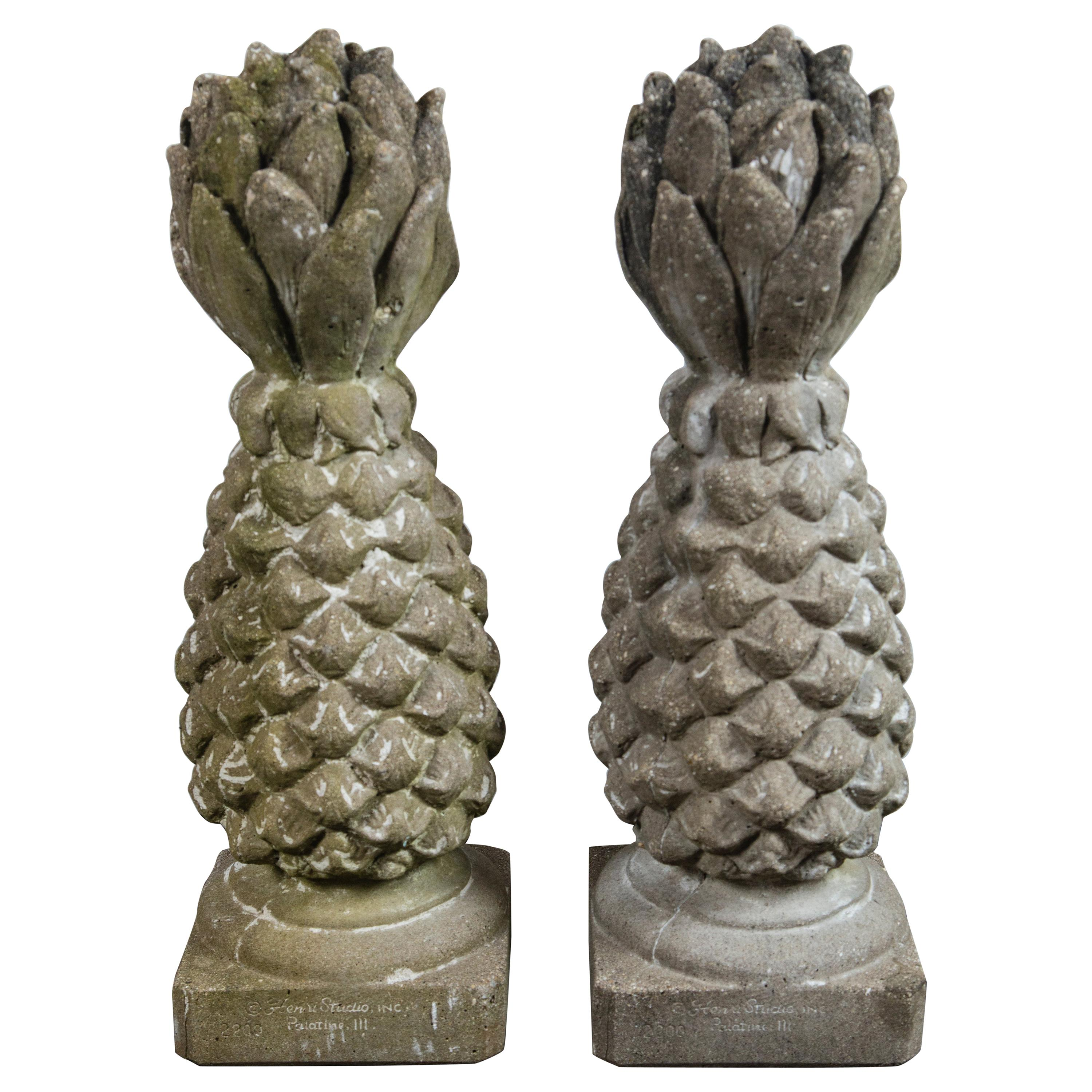 Pair of Cast Stone Pineapple Garden Ornaments