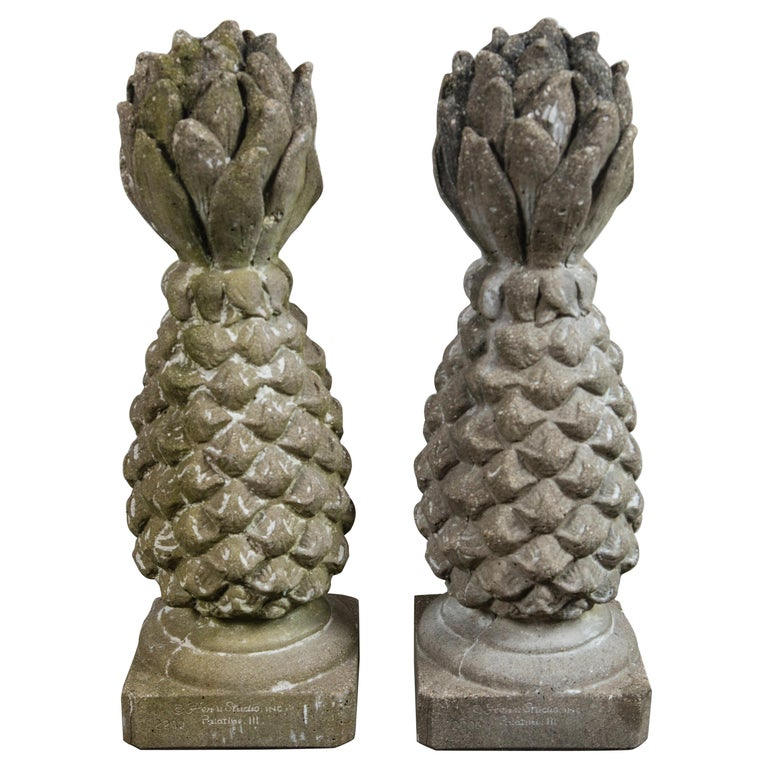Pair of Cast Stone Pineapple Garden Ornaments For Sale