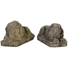 Pair of Cast Stone Recumbent Lions, 1960s