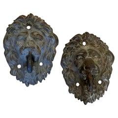 Pair of Cast Zinc Lion Head Hooks or Tiebacks, 19th Century