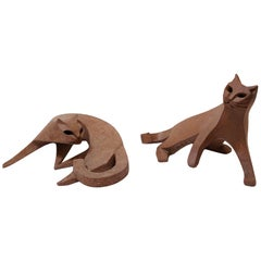 Pair of Cat Ceramic Sculpture by Karel Dupont, Belgium