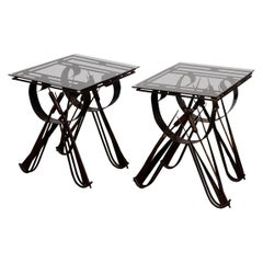 Pair of Cat Tail Iron Side Tables with Black Glass Tops