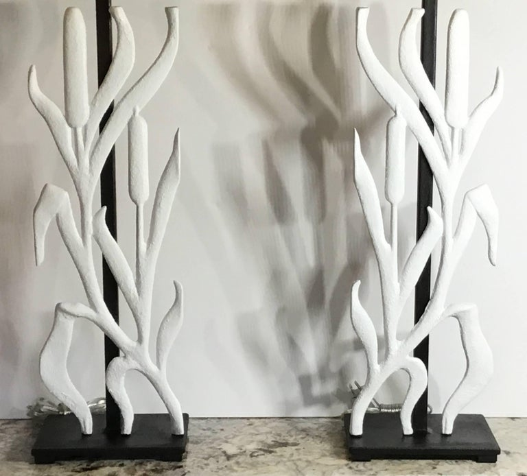 Cast Pair of Cat Tail Iron Table Lamp For Sale