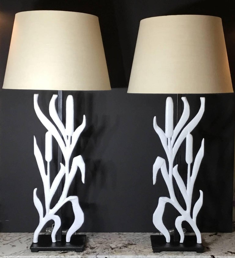 Pair of Cat Tail Iron Table Lamp For Sale 3