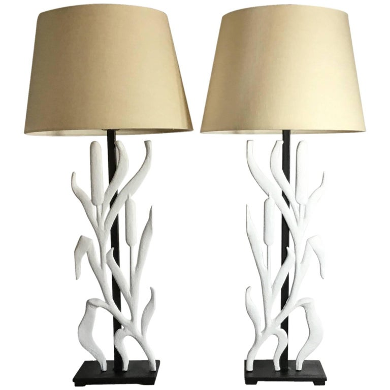 Pair of Cat Tail Iron Table Lamp For Sale