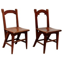 Pair of Catalan Modernist Wooden Chairs, circa 1920