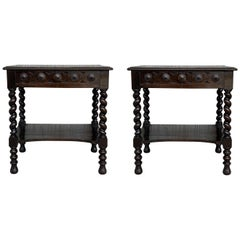 Pair of Catalan, Spanish Nightstands with Carved Bars, Drawer and Open Shelf