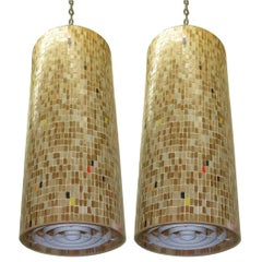 Pair of Ceiling Fixtures in Mosaic Tiles, Made in USA, C. 1960