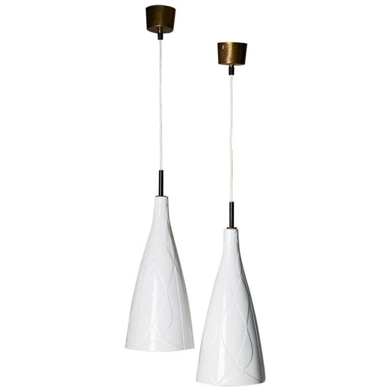 Pair of Ceiling Lamps Designed by Carl-Harry Stålhane, Rörstrand, Sweden, 1954 For Sale