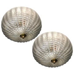 Pair of Ceiling Lights Attributed to Barovier & Toso, 1950s