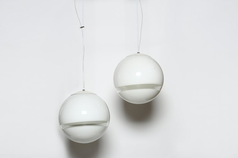 Italian Pair of Ceiling Pendants by Leucos For Sale
