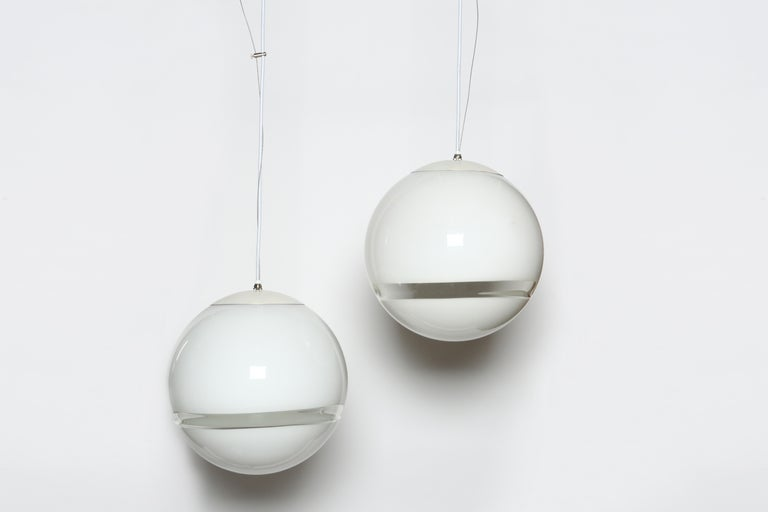Pair of Ceiling Pendants by Leucos In Good Condition For Sale In Brooklyn, NY