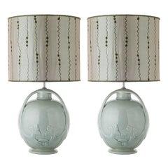 Pair of Celadon Glazed Ceramic Table Lamps