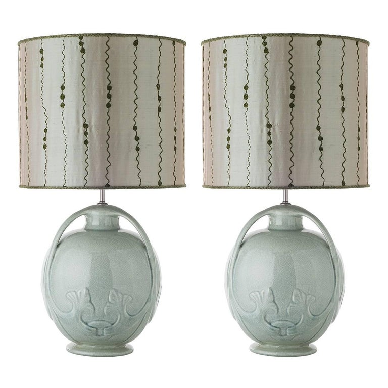 Pair of Celadon Glazed Ceramic Table Lamps