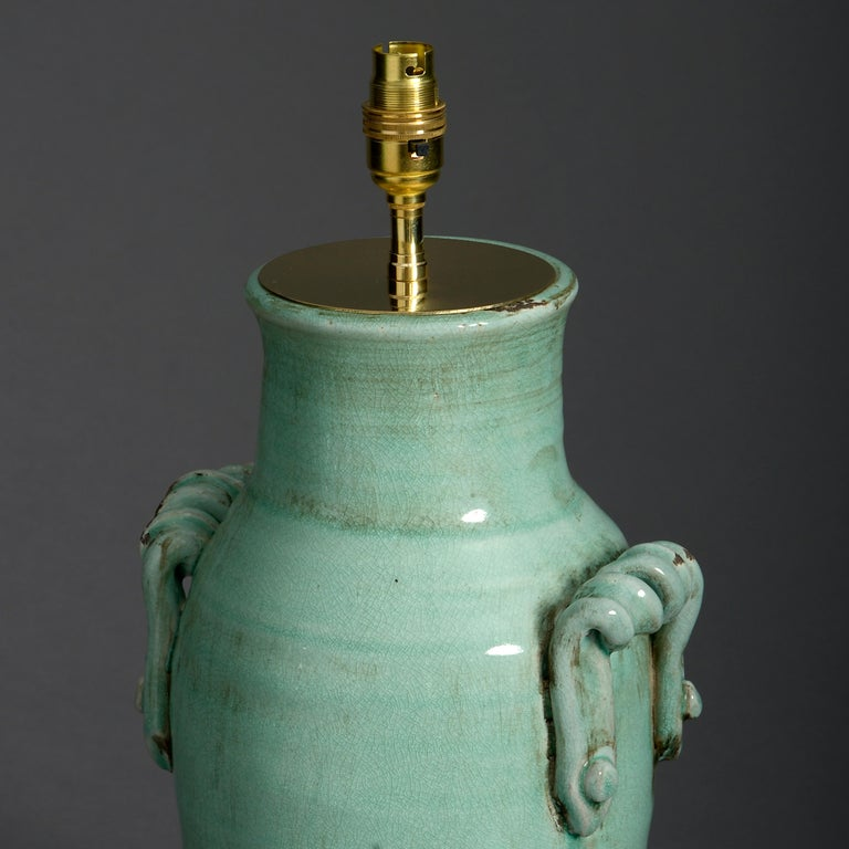 Chinese Export Pair of Celadon Green Crackle Glaze Vase Lamps For Sale