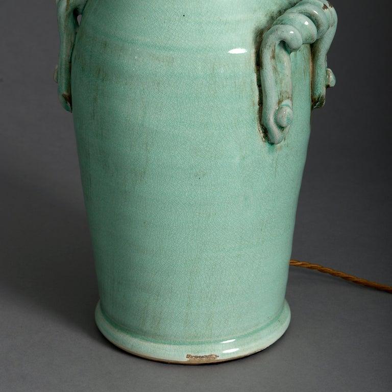 English Pair of Celadon Green Crackle Glaze Vase Lamps For Sale