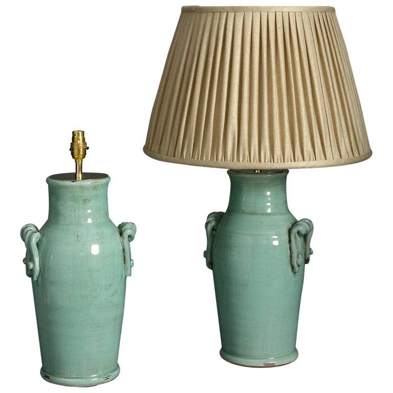 Pair of Celadon Green Crackle Glaze Vase Lamps For Sale