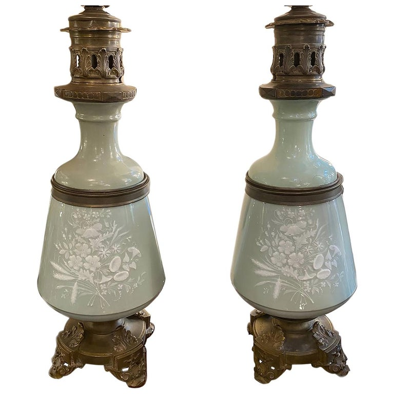 Pair of Celadon Lamps For Sale