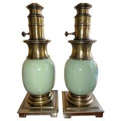Pair of Celadon Porcelain Lamps