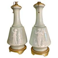 Pair of Celadon Porcelain Table Lamps