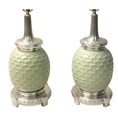 Pair of Celadon Table Lamps