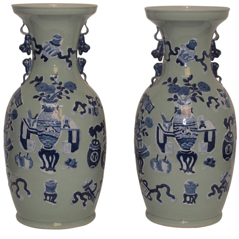 Late 19th Century Celadon Crackle Glazed Vase At 1stdibs
