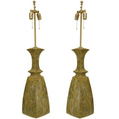 Pair of American Dipasquale Celadon Glazed Ceramic Table Lamps