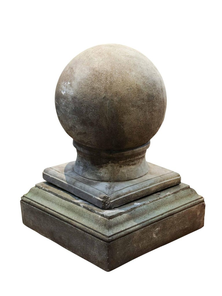 Neoclassical Pair of Cement Globe Finials For Sale