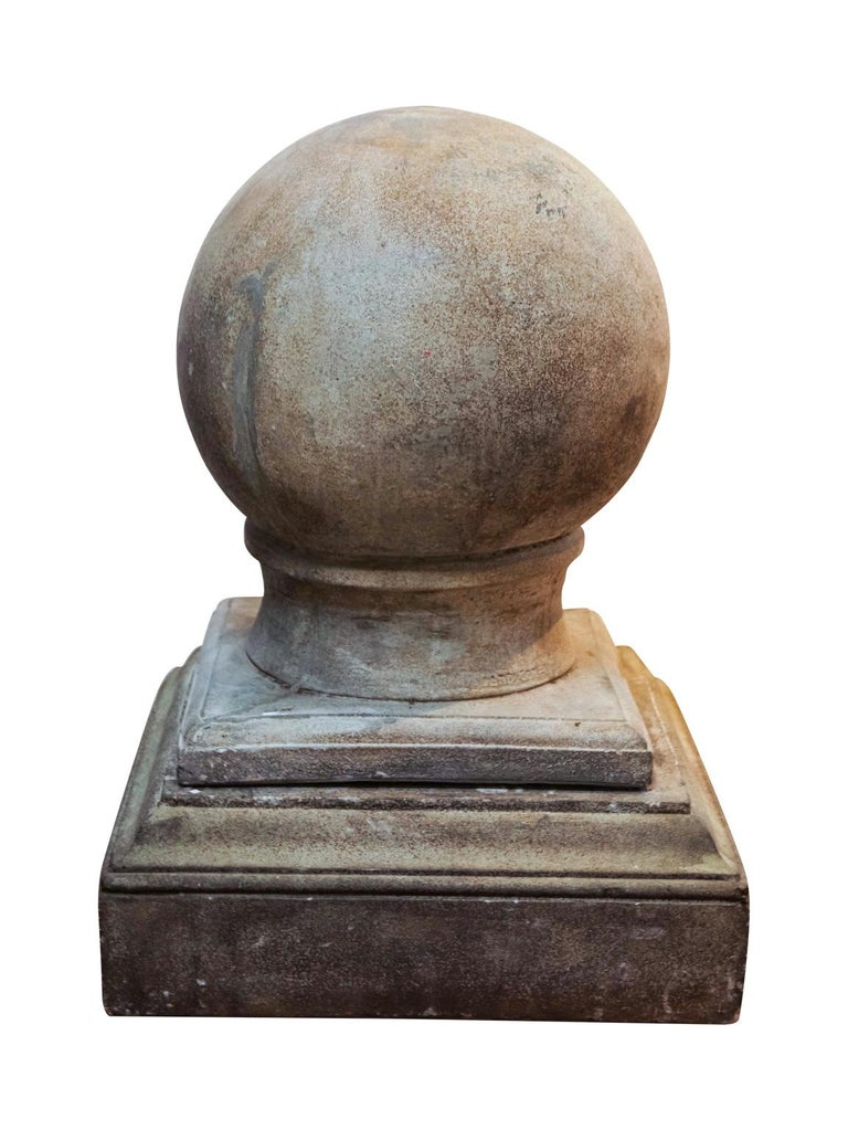 Pair of Cement Globe Finials For Sale 3
