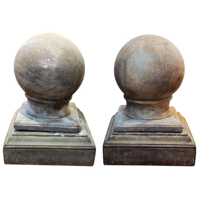 Pair of Cement Globe Finials For Sale